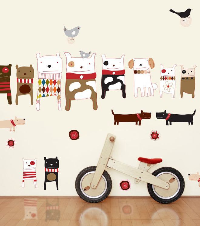 on the wall, wall stickers, children's wall stickers, animal wall stickers, dog wall stickers, Carolyn Gavin, Chocovenyl, published by Bobby Rabbit