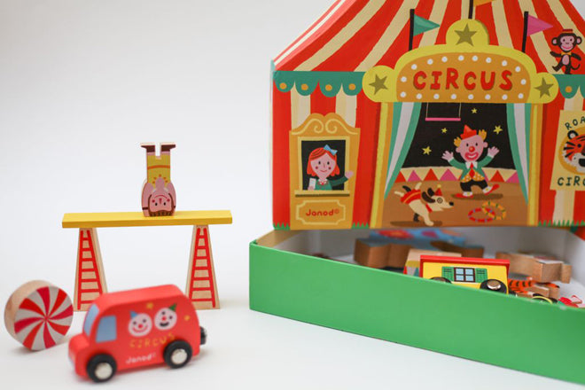 toys, wooden toys, wooden circus, children's gifts, Christmas gifts, Janod Story Box Circus, Toyella, published by Bobby Rabbit