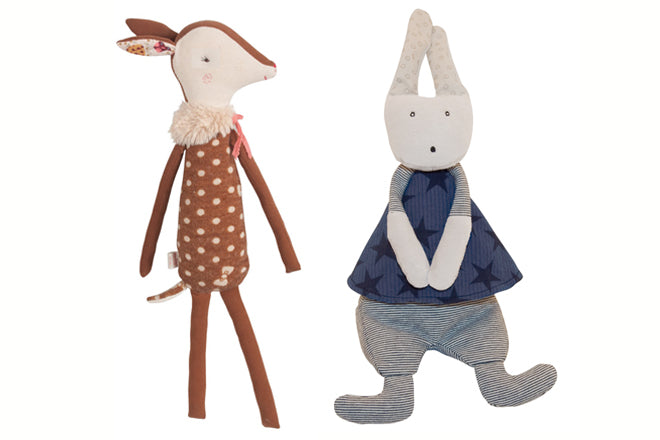 toys, soft toys, soft toy gifts, baby gifts, Maileg bambi deer, Moulin Roty Ernest rabbit, Cottontails Baby, published by Bobby Rabbit