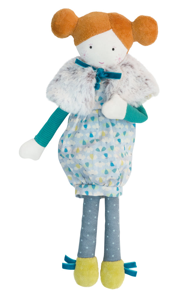 Moulin Roty Les Parisiennes Agathe soft toy doll from Cottontails, published by Bobby Rabbit