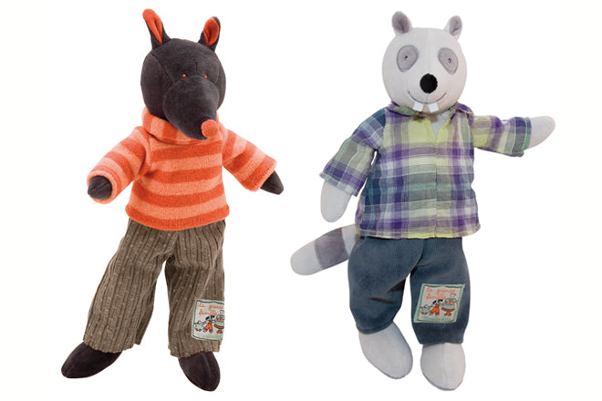 toys, soft toys, soft toy gifts, baby gifts, Igor Wolf, Gaston Raccoon, Moulin Roty, Cottontails Baby, published by Bobby Rabbit