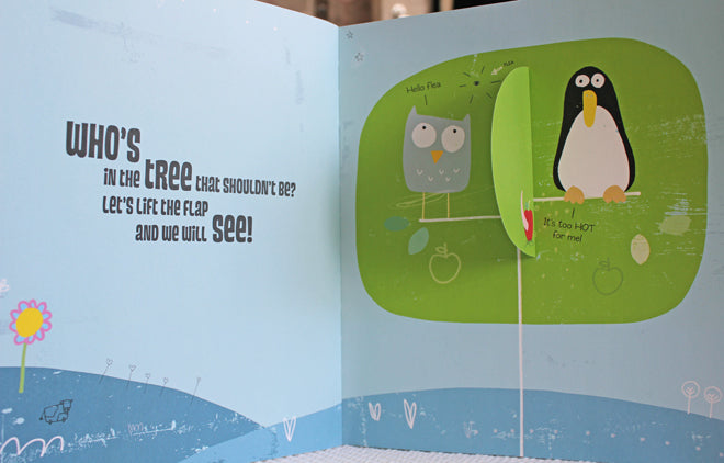 'Who's in the tree that shouldn't be?' children's lift the flap story book by Craig Shuttlewood