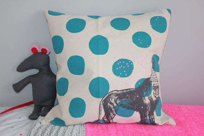 real life rooms, grey and white neon and bright bedroom, children's cushions, circus cushion, soft toy mouse, children's throws, neon throw, silver throw, published by Bobby Rabbit