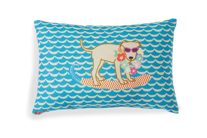 'Hawaiian dog' cushion by Mimi Lou and available from Deco Baby, published by Bobby Rabbit