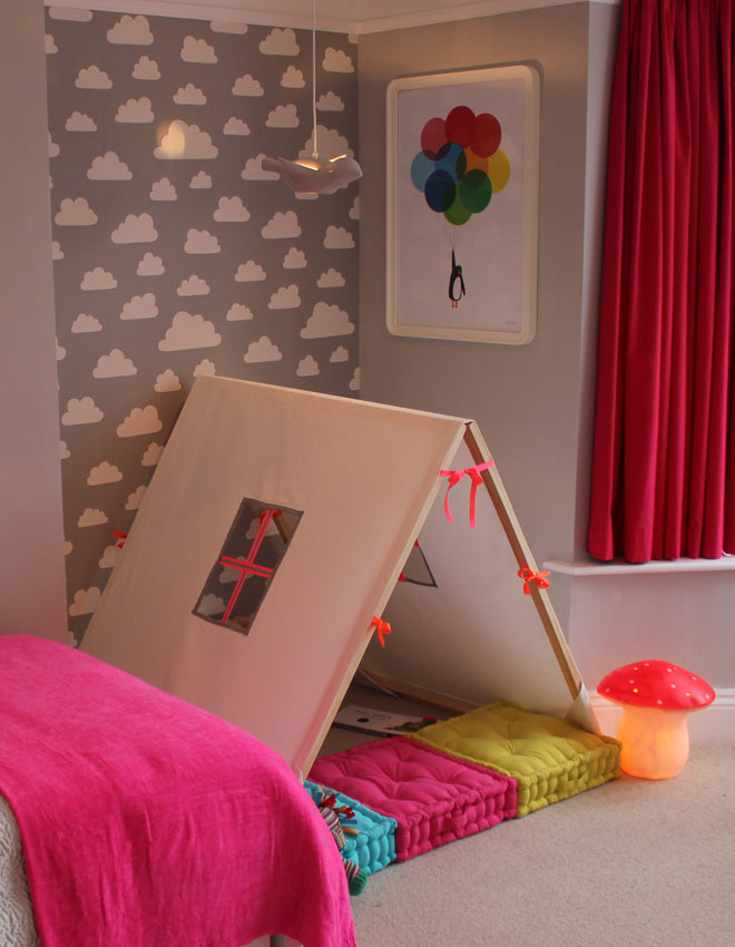 real life rooms, grey and white neon and bright bedroom, den corner, children's dens, children's lights, mushroom night light, floor cushions, children's floor cushions, soft toys, jellycat stripy lion, children's wallpaper, cloud wallpaper, published by Bobby Rabbit