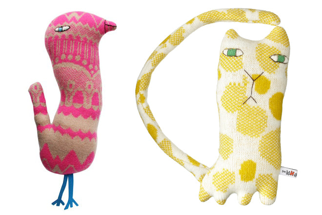 toys, soft toys, creatures, soft toy bird, soft toy cat, Donna Wilson, published by Bobby Rabbit
