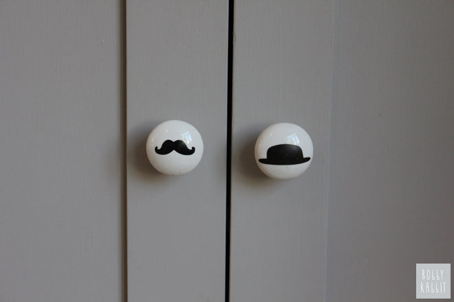 Monochrome Moustache and Bowler Hat door handles from This Modern Life, published by Bobby Rabbit