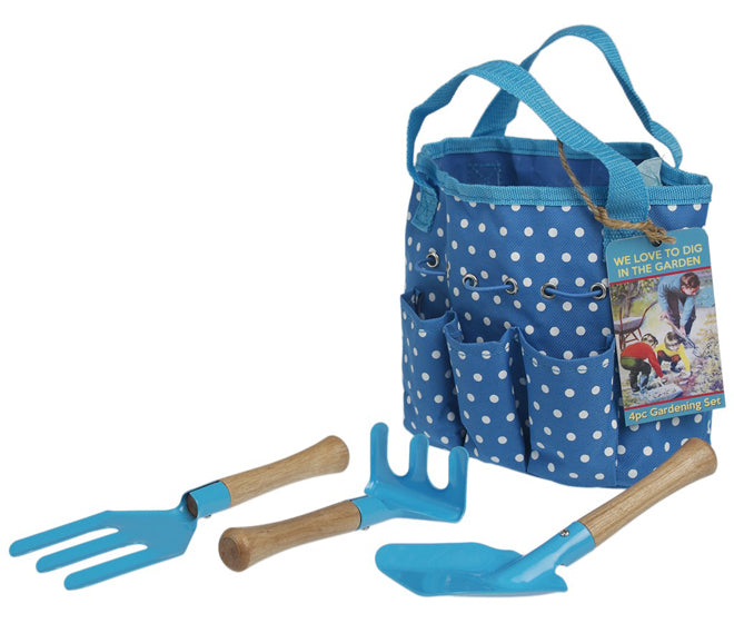 toys, activity toys, children's gardening set, blue gardening set, children's gardening tools, Easter gifts, Dotcomgiftshop, published by Bobby Rabbit