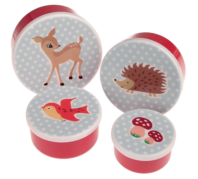 tableware, table accessories, snack pots, lunch boxes, children's snack pots, children's lunch boxes, Woodland snack pots, Dotcomgiftshop, published by Bobby Rabbit