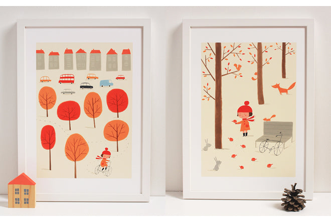 Children's wall art prints 'Autumn Story' by Ekaterina Trukhan