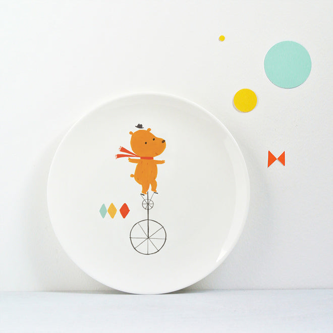 Circus Plate - Bear, children's bone china plate by Ekaterina Trukhan, published by Bobby Rabbit