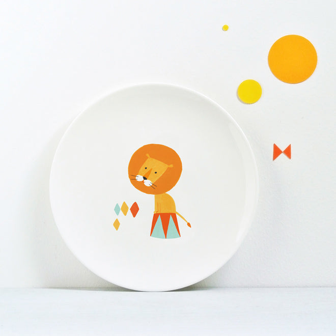 Circus Plate - Lion, children's bone china plate by Ekaterina Trukhan, published by Bobby Rabbit
