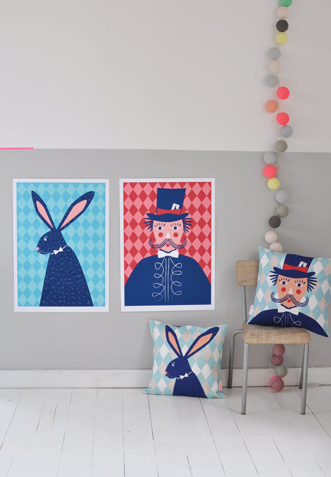 'The Performers' wall art prints and cushions designed by Famille Summerbelle, published by Bobby Rabbit