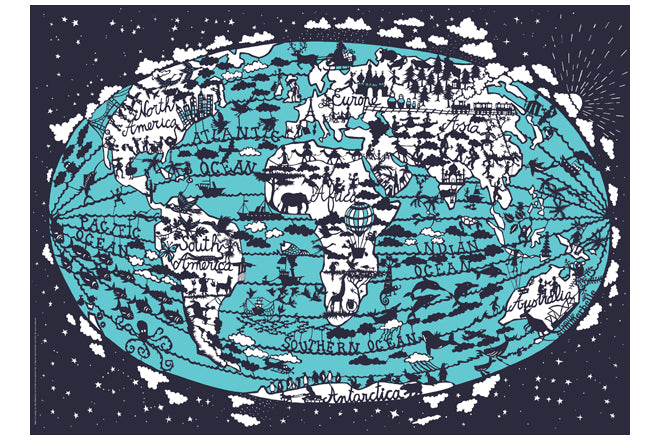 World map print for children's rooms by Famille Summerbelle, published by Bobby Rabbit