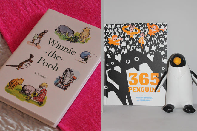 real life rooms, grey and white neon and bright bedroom, children's throws, neon pink throw, winnie the pooh book, children's books, 365 penguins, penguin bookend, published by Bobby Rabbit
