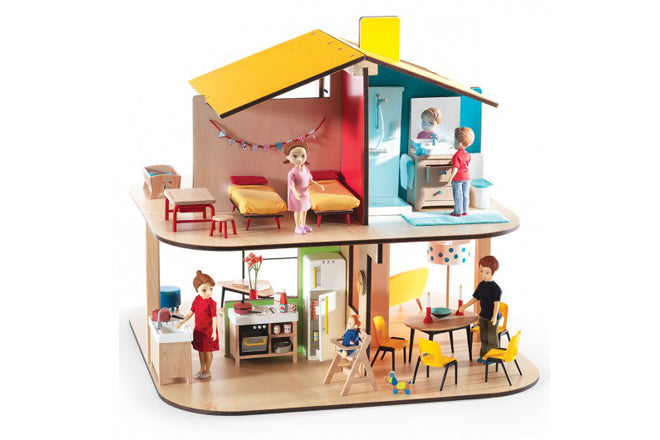 Djeco 'Colour House' wooden dolls house from French Blossom, published by Bobby Rabbit