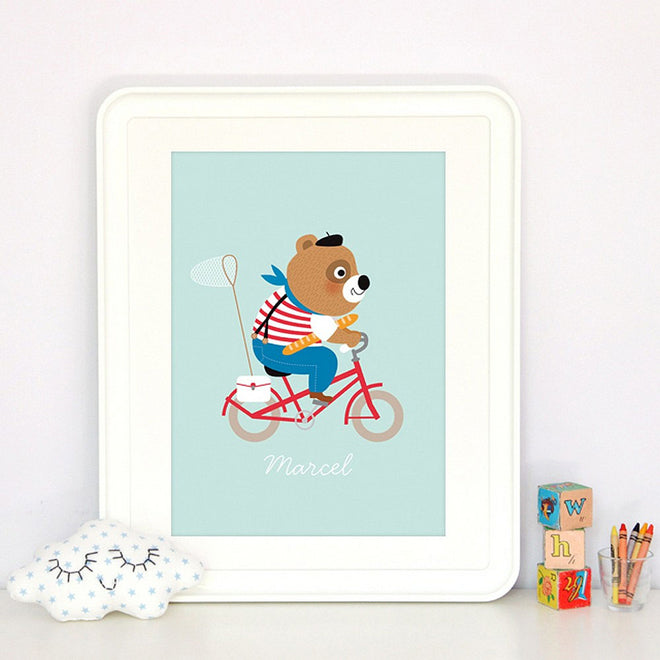 Marcel the Parisian bear print for children's rooms, designed in France by Zu and available from French Blossom, published by Bobby Rabbit