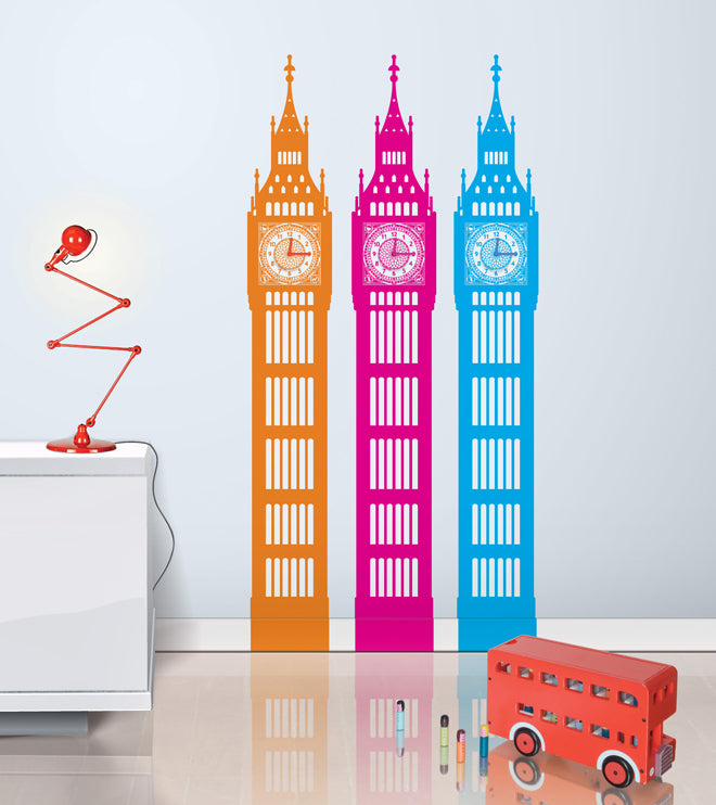 on the wall, wall stickers, clocks, Big Ben wall stickers, Big Ben wall clock, Funky Little Darlings, published by Bobby Rabbit