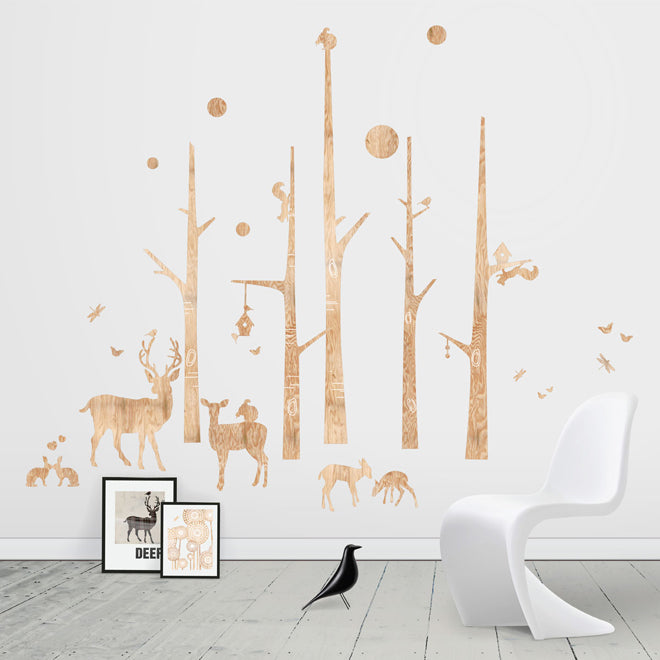 on the wall, wall stickers, children's wall stickers, woodland wall stickers, Funky Little Darlings, published by Bobby Rabbit