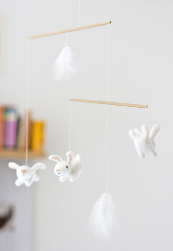 Felt bunny nursery mobile by MistrSandman, published by Bobby Rabbit