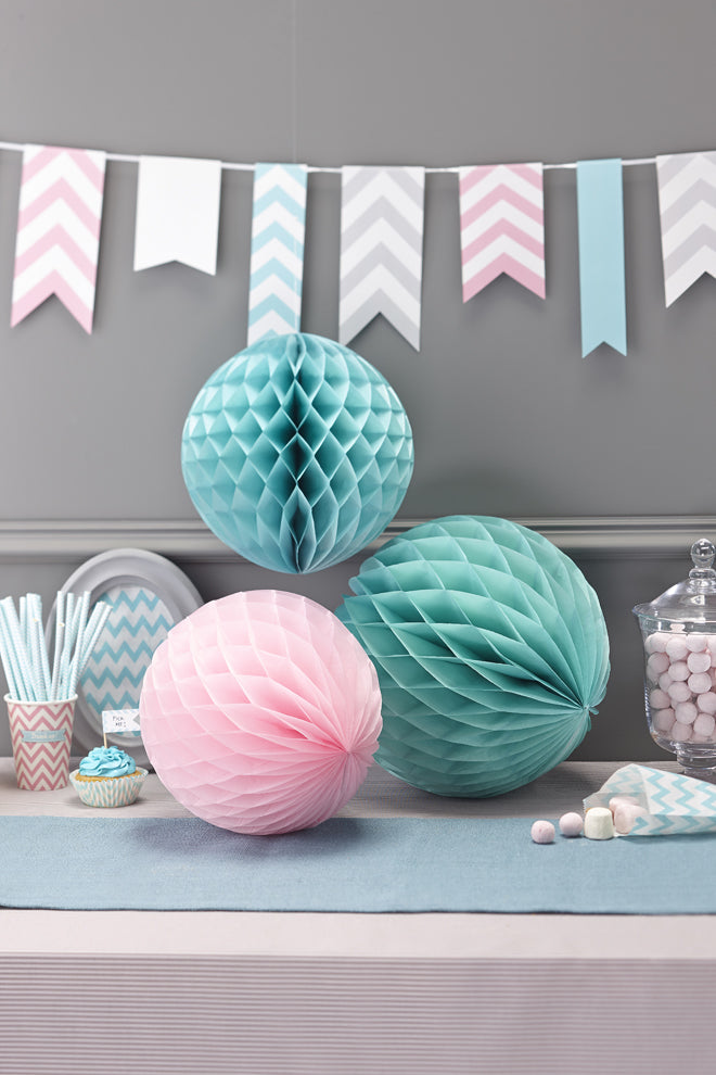 'Chevron Divine' honeycomb ball party decorations by Ginger Ray, published by Bobby Rabbit