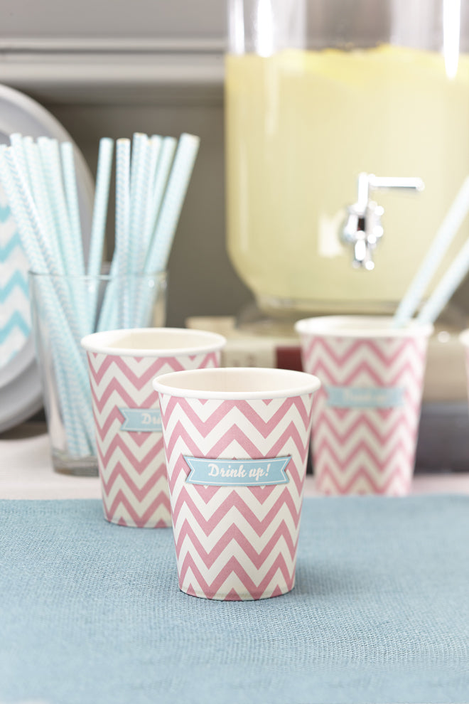 'Chevron Divine' party cups and straws by Ginger Ray, published by Bobby Rabbit