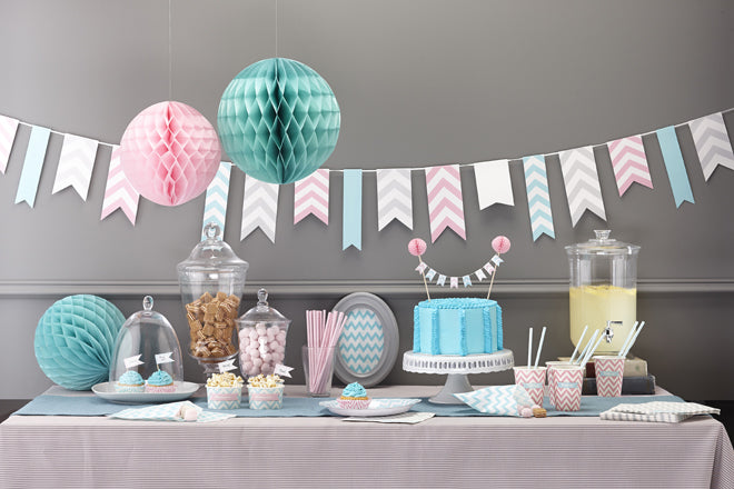 'Chevron Divine' party collection by Ginger Ray, including plates, cups, napkins, cake accessories and decorations, perfect for children's parties, published by Bobby Rabbit