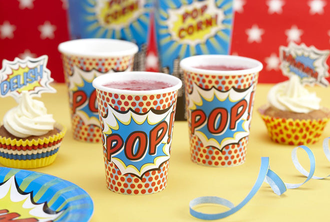 party, children's party, children's party themes, superhero party, superhero party cups, Ginger Ray, published by Bobby Rabbit