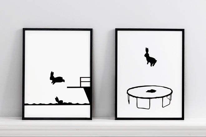'Diving Rabbit' and 'Bouncing Rabbit' wall art prints by Ham, published by Bobby Rabbit