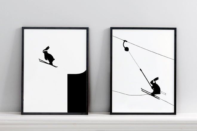 'Ski Jumping Rabbit' and 'Button Lift Rabbit' wall art prints by Ham, published by Bobby Rabbit