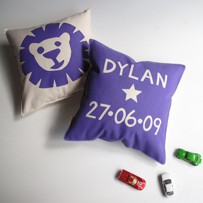 Helen Rawlinson children's personalised birthday cushion