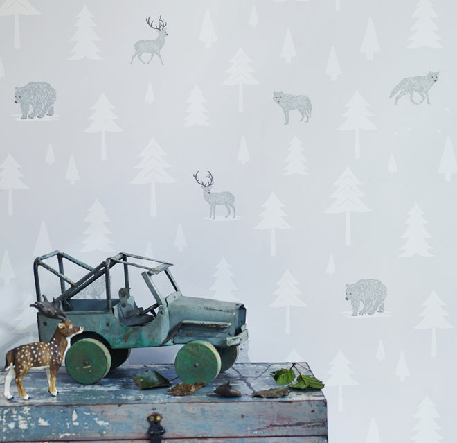on the wall, wallpaper, children's wallpaper, into the wild wallpaper, bear wallpaper, stag wallpaper, Hibou Home, published by Bobby Rabbit