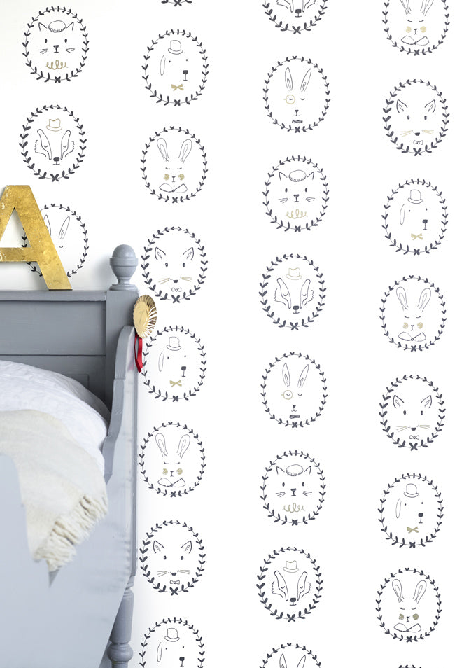 'Portraits' children's wallpaper by Hibou Home, published by Bobby Rabbit