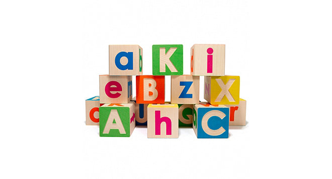 ABC wooden alphabet blocks, designed by Uncle Goose and available from Hop Toy Shop, published by Bobby Rabbit