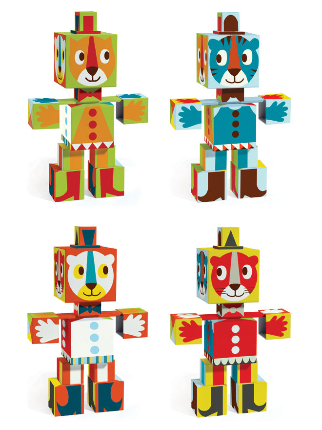 Stacking animal totem cubes designed in France by Djeco and available from Hop Toy Shop, published by Bobby Rabbit