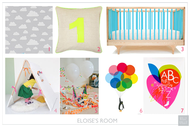 real life rooms, inspiration boards, neon childrens room, neon kids room, neon bedroom accessories, neon cushions, neon wall art, published by Bobby Rabbit