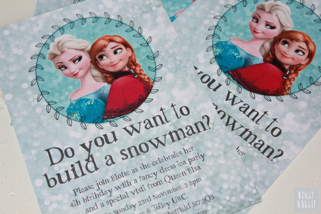 Frozen Anna and Elsa Party Invitations by South Pacific Prints, party styling by Bobby Rabbit