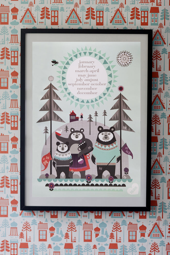 Fairytale posters by Isak, featuring Goldilocks and the 3 Bears, Ali Baba and the Fox and the Hare, published by Bobby Rabbit