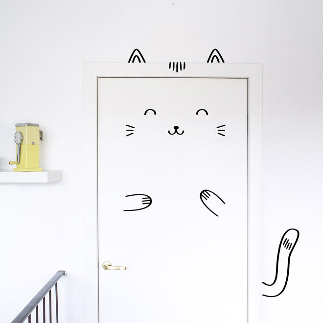 'Sisi The Smug Cat' door friend decal from Ivy Cabin, published by Bobby Rabbit