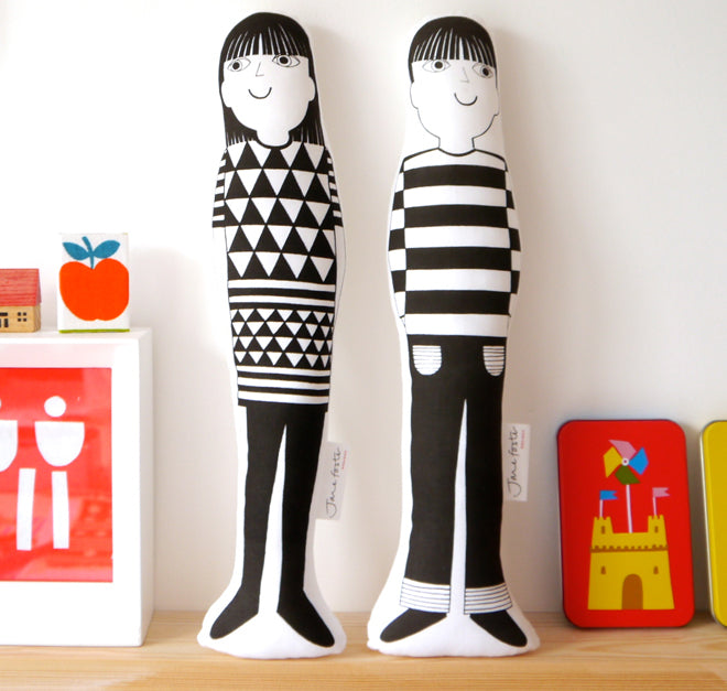 Soft toy dolls by Jane Foster, published by Bobby Rabbit