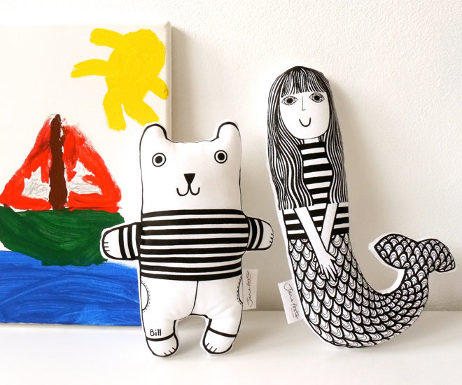 Jane Foster 'Nautical Nancy' and 'Nautical Bill' soft toys, published by Bobby Rabbit