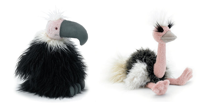 Jellycat soft toy birds 'Colin Condor' and 'Orla Ostrich', published by Bobby Rabbit