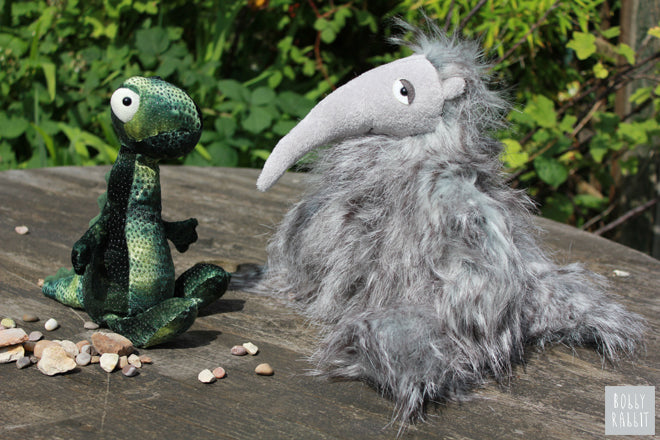 Jellycat soft toys Arnie Anteater and Larry Lizard, published by Bobby Rabbit