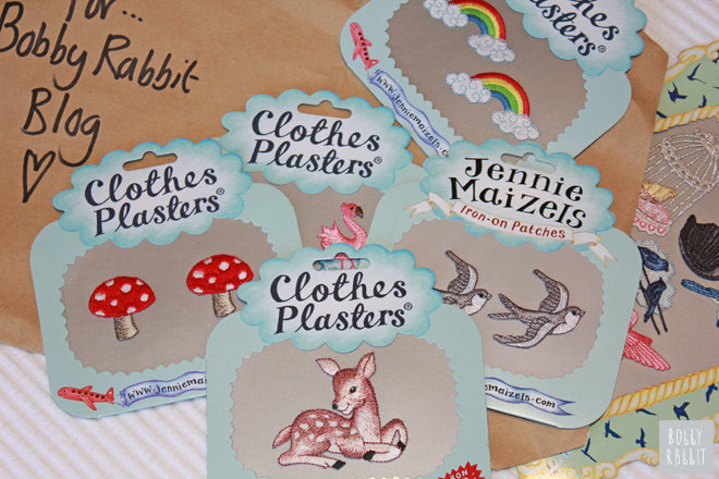 Jenny Maizels Iron-on Patches for children's clothes or fabrics, published by Bobby Rabbit