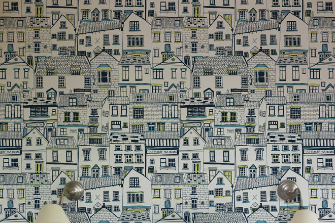 on the wall, wallpaper, children's wallpaper, coastal cottages wallpaper, children's room decoration, Jessica Hogarth, Notonthehighstreet, published by Bobby Rabbit