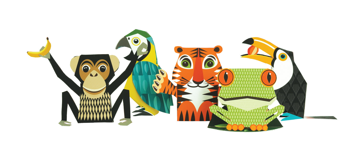 The Jungle Crew children's book with make-your-own animals by Madeleine Rogers at Mibo, published by Bobby Rabbit