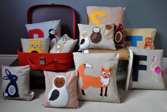 textiles, cushions, animal cushions, children's cushions, Lettie Belle, published by Bobby Rabbit
