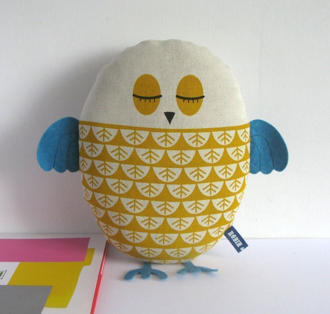 Soft toy owl cushion, designed and made in the UK by Robin & Mould and available from Little Baby Company, published by Bobby Rabbit