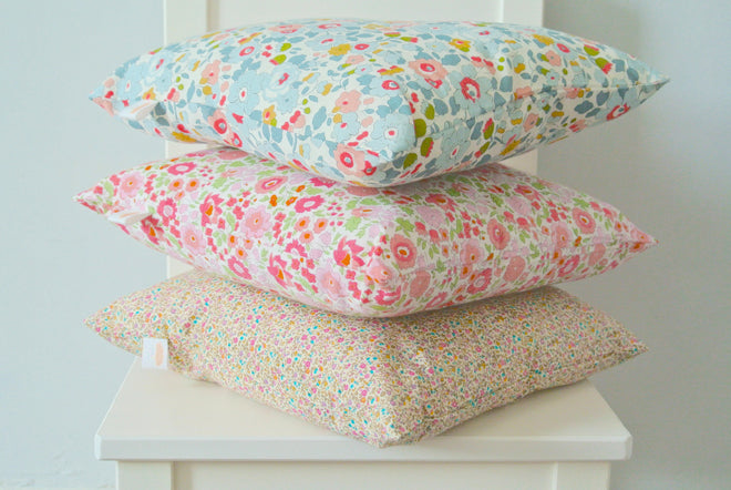 Children's cushions made from liberty print fabrics by Little Cloud, published by Bobby Rabbit