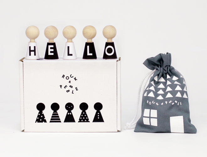 Rock & Pebble 'Alphabet Pebbles' wooden doll and sticker set, available from Little Lulubel, published by Bobby Rabbit